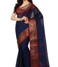 Buy GiftPiper Bengali Tant Saree- Blue & Red bengali-saree online