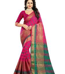 Buy Pink woven cotton silk saree with blouse cotton-silk-saree online