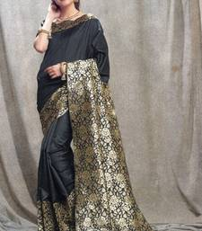 Buy black woven silk saree with blouse party-wear-saree online