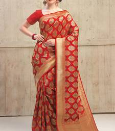 Buy red woven kanchipuram silk saree with blouse kanchipuram-silk-saree online