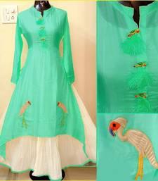 Buy Blue hand woven chanderi stitched kurti kurtas-and-kurti online