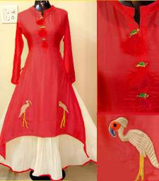 Buy Red hand woven chanderi party-wear-kurtis party-wear-kurti online