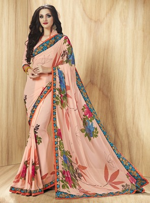 Salmon printed georgette saree with blouse