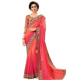 Buy Red embroidered georgette saree with blouse mehendi-ceremony-dress online