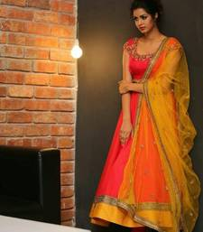 Buy Orange embroidered silk salwar with dupatta semi-stitched-salwar-suit online