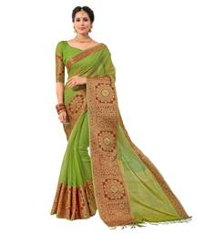 Buy Green woven Banarasi Silk Cotton saree with blouse banarasi-silk-saree online
