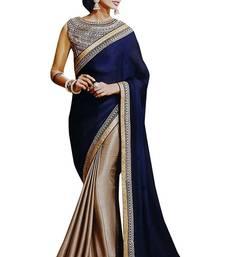 Buy Blue plain chiffon saree with blouse party-wear-saree online