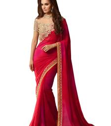 Buy Red embroidered georgette saree with blouse designer-embroidered-saree online
