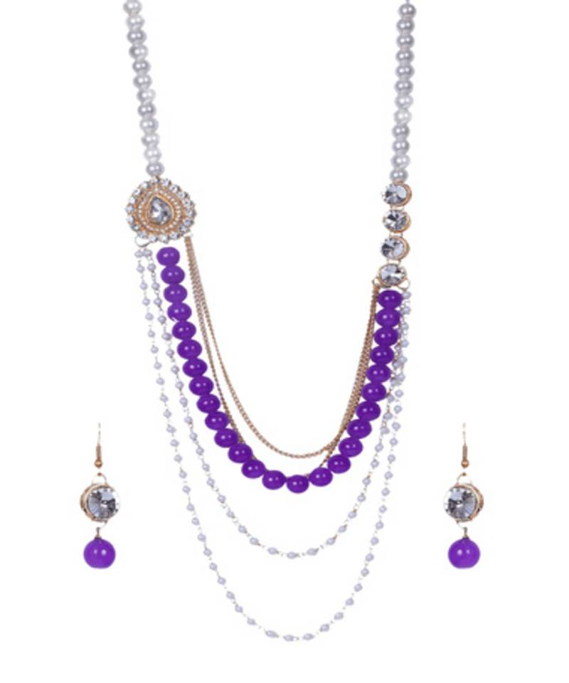 Buy Purple Pearl Beads Gold Chains Side Pendant Necklace Set ...