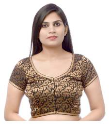 Buy Lovely Black Brocade Party-Wear Sari Blouse fabric blouse-fabric online