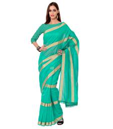 Buy Blue Solid Pure Cotton saree with blouse party-wear-saree online