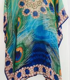 Buy peacock blue Turquoise digital print georgette  kaftan kurti kaftan online