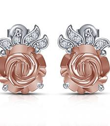 Buy  925 Sterling Silver Round Cut CZ Lucky Flower Ear Stud Earrings For Women stud online