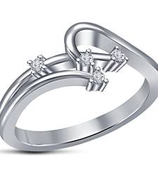 Buy Womens Fancy White Platinum Plated Clear Cubic Zirconia Love Ring Ring online
