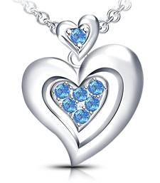 "Buy 925 Sterling Silver Aquamarine CZ Ravishing Double Heart Pendant With 18"" Chain Pendant online"