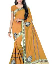 Buy Yellow Embroidery Chandery cotton Saree With Blouse chanderi-saree online