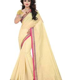 Buy Beige Plain Chandery cotton Saree With Blouse chanderi-saree online