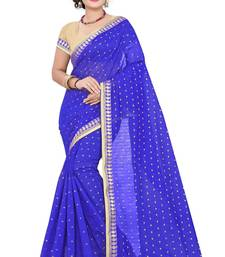 Buy blue Plain Chandery cotton Saree With Blouse chanderi-saree online