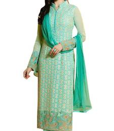 Buy Red embroidered taffeta salwar with dupatta party-wear-salwar-kameez online