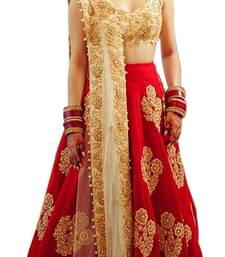 Buy Red embroidered dupion silk unstitched lehenga with dupatta lehenga-choli online