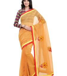 Buy Yellow embroidered super net saree with blouse supernet-saree online