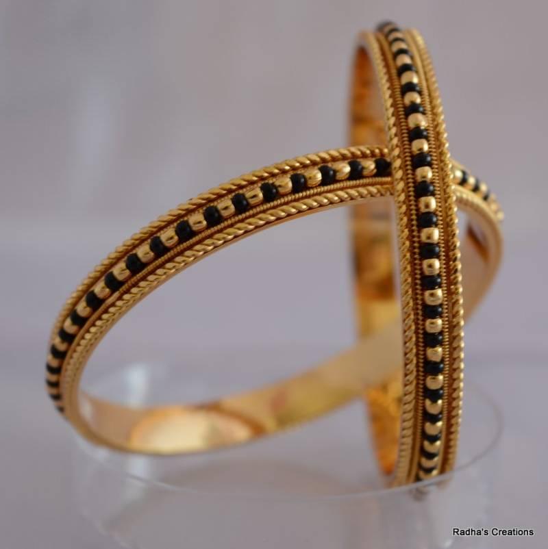 Buy Black bead bangle - 2 Online