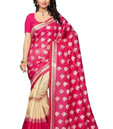 Buy Pink printed bhagalpuri saree with blouse bhagalpuri-silk-saree online