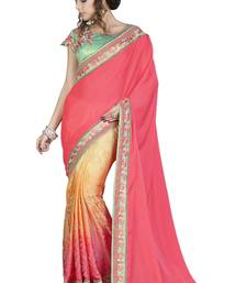 Buy Sea green embroidered silk blend saree with blouse south-indian-saree online