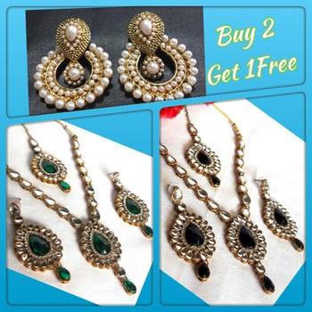 Buy 2 Get 1 Free Kundan Necklace Set