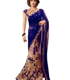 Buy Blue embroidered georgette saree with blouse designer-embroidered-saree online