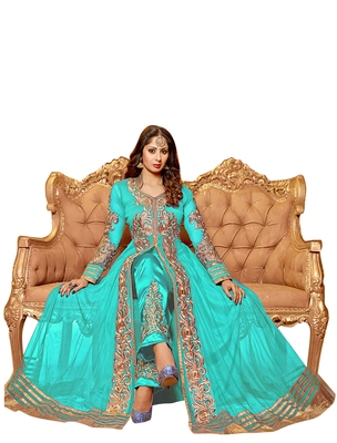 AQUA & BEIGE EMBROIDERED GEORGETTE SEMI-STITCHED ANARKALI SUIT