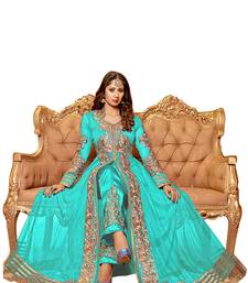 Buy AQUA & BEIGE EMBROIDERED GEORGETTE SEMI-STITCHED ANARKALI SUIT semi-stitched-salwar-suit online