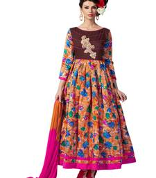 Buy Multicolor  embroidery  banglori silk unstitched salwar with dupatta dress-material online