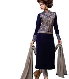 Buy Navy blue velvet embroderied semi stitched salwar with dupatta semi-stitched-salwar-suit online