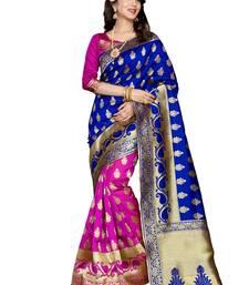 Buy Blue  and  pink  printed banarasi silk saree with blouse party-wear-saree online