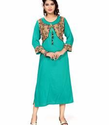 Buy Turquoise color printed crepe stitched long kurtis kurtas-and-kurtis online