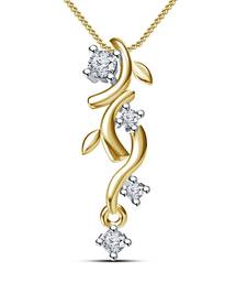 "Buy Round Cut White Cubic Zirconia Journey Pendant 14K Gold Plated With 18"" Chain cubic-zirconia-cz-pendant online"