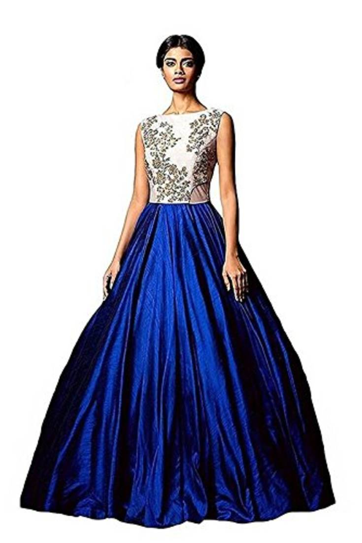 buy blue plain silk unstitched lehenga online