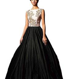 Buy Black plain silk unstitched lehenga lehenga-choli online