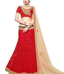 Buy Red embroidered net unstitched lehenga with dupatta lehenga-choli online