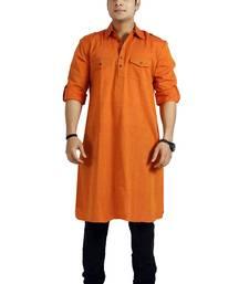 Buy Men's Cotton Solid Orange Colour Long Length Pathani Kurta men-kurta online
