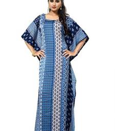 Buy Blue  and  white color printed high quality satin silk long designer kaftan islamic-kaftan online