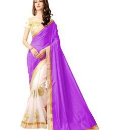 Buy Purple embroidered silk saree with blouse half-saree online