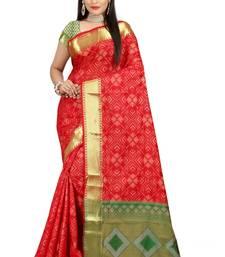 Buy red woven patola saree with blouse patola-sari online