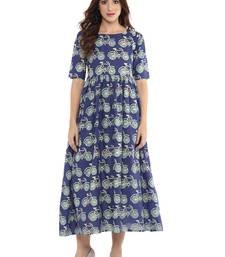 Buy Blue  cotton stitched kurtas-and-kurtis kurtas-and-kurtis online