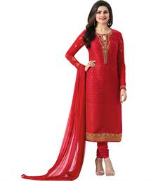 Buy Red embroidered brasso salwar with dupatta salwars-and-churidar online