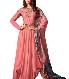 Buy Pink embroidered georgette salwar with dupatta wedding-season-sale online