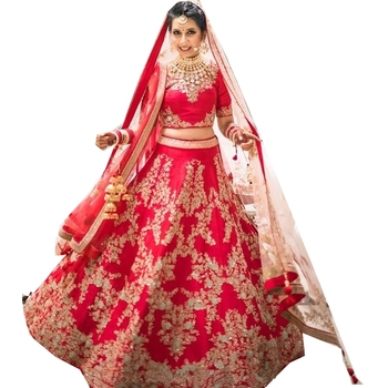 Red embroidered dupion silk unstitched lehenga