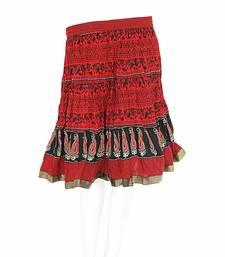 Buy Designer Block Printed Red Base Mini Cotton Skirt skirt online