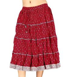 Buy Silver Block Print Red Pure Cotton Short Skirt skirt online